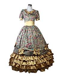 Victorien Rococo Costume Femme Filles Une Pièce Robes Bal Masqué Doré Vintage Cosplay Tissu Matelassé Manches Courtes