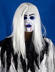 Horrible dentelle blanche à cheveux longs fantôme visage latex doux masque halloween costume publicitaire costume mus