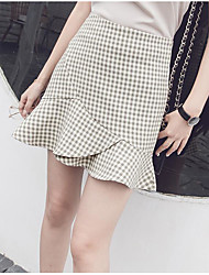 cheap -Women's Classic & Timeless Bodycon Skirts - Multi Color Houndstooth