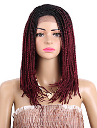 16inch Bob Synthetic Lace Front Wig Box Braiding Hair Ombre Blonde Box Braids Wig For Black Women