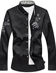 cheap -Men's Daily Chinoiserie Spring Fall Shirt,Floral Shirt Collar Long Sleeves Rayon Medium