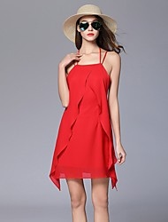 Women's Beach Holiday Going out Casual/Daily Club Sexy Simple Cute A Line Loose Dress,Solid Strap Above Knee Sleeveless RayonAll Seasons
