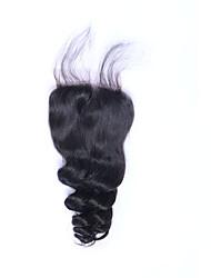 abordables -Bonne qualité bonne qualité 8a naturelle noire lisse boucle brésilienne vierge fermeture à cheveux humain libre / moyen / 3 partie 4 * 4