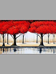 Hand-Painted Knife Red Woods Scenery Oil Painting Wall Art With Stretcher Frame Ready To Hang