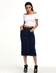 Women's Going out Casual/Daily Holiday Knee-length Skirts Relaxed Solid Spring Summer Fall