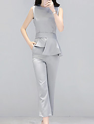 cheap -Women's Casual Casual Summer Blazer Pant Suits,Solid Round Neck Sleeveless 100%Wool Inelastic