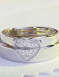 preiswerte -Damen Paar Ring Kubikzirkonia Herz Simple Style Elegant Kubikzirkonia Silber Kreisförmig Schmuck Hochzeit Party Alltagskleidung Verlobung