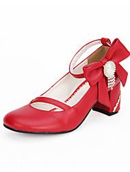 Schuhe Niedlich Klassische/Traditionelle Lolita Lolita Prinzessin Handgemacht Blockabsatz Schleife Lolita 6.5 CM Rot FürPU -
