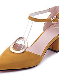 cheap -Women's Sandals Comfort Light Soles Summer PU Dress Buckle Block Heel Black Gray Yellow 2in-2 3/4in