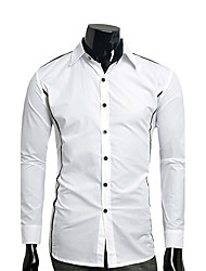 Hot Sale Fashion Men's Plus Size Casual/Daily Simple Active Summer ShirtSolid Standing Collar Short Sleeve Cotton Thin Slim Dress Shirt