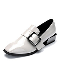 Women's Oxfords Formal Shoes Spring Fall Synthetic Microfiber PU Office & Career Buckle Chunky Heel Black Light Grey 1in-1 3/4in