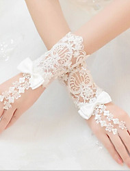 Wrist Length Fingerless Glove Lace Bridal Gloves All Seasons Beading Bow