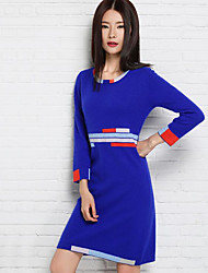 Women's Casual/Daily Sweater Dress,Color Block Round Neck Knee-length Above Knee Long Sleeves Wool Fall Winter Mid Rise Micro-elastic