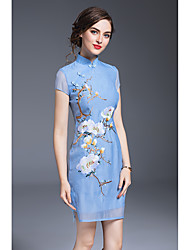 JOJO HANS Women's Party Sexy Chinoiserie Sheath DressFlower/Floral Stand Above Knee Short Sleeve Polyester Summer Mid Rise Micro-elastic Medium