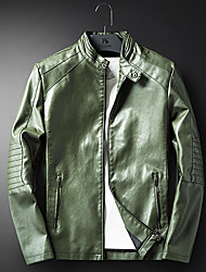 Men's Casual/Daily Vintage Winter Leather Jacket,Solid Stand Long Sleeve Regular PU