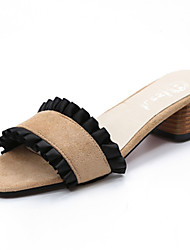 Women's Slippers & Flip-Flops Light Soles Summer Cashmere Walking Shoes Casual Stitching Lace Flat Heel Black Khaki 2in-2 3/4in