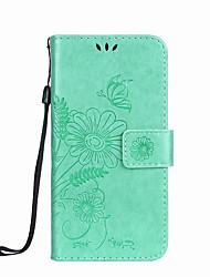 economico -Per portacassetta mini portacellulare mini s4 portacassetta samsung mini con supporto a rilievo in rilievo pieno fiore farfalla in pelle