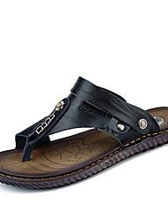 Men's Sandals Comfort Summer Nappa Leather Outdoor Flat Heel Black Dark Blue Under 1in