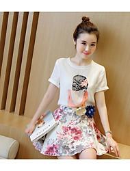 preiswerte -Damen T-shirt - Blumen, Druck Rock