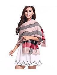 Femme Soie Coton Fibre de bambou Rectangle,Imprimé Printemps Hiver