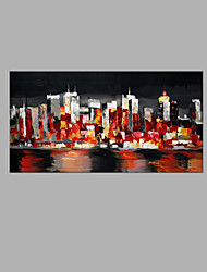 IARTS® Modern Abstract Modern City Architecture Night Light View Scenery Handmade Oil Painting On Canvas with Stretched Frame Wall Art For Home Decora