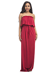 cheap -Women's Plus Size Beach Boho Sheath Dress - Solid Colored Red High Rise Maxi Strapless