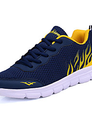Men's Athletic Shoes Comfort Spring Fall Tulle Running Shoes Casual Lace-up Flat Heel Navy Blue Light Grey Black/Red 2in-2 3/4in