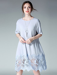 JIANRUYI Women's Party Going out Casual/Daily Simple Loose DressSolid Round Neck Midi Short Sleeve Linen Lace Summer High Rise Inelastic Thin