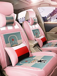 Car Seat Cushion Car Seat Cover Family Car Leather Seat Cover Four General--Argentina Pink