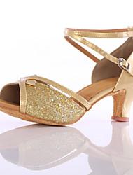 Da donna Balli latino-americani Paillette Tacchi Sneakers Esibizione Tacco cubano Oro Argento Blu Personalizzabile