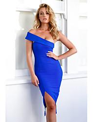 cheap -Women's Party Sexy Sheath Dress,Solid Strapless Asymmetrical Sleeveless Cotton Summer High Rise Stretchy Medium
