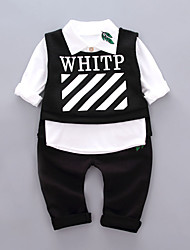 Boys' Fashion And Lovely Cartoon  Letters  Leaves Long-Sleeved Shirt Harlan Leisure Trousers A Three-Piece