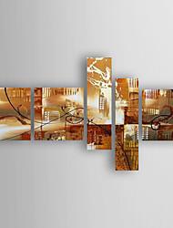 economico -Dipinta a mano Astratto Orizzontale,Astratto Cinque Pannelli Tela Hang-Dipinto ad olio For Decorazioni per la casa