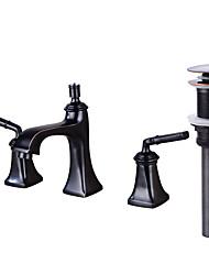 Udspredt Messing Ventil To Håndtag tre huller Olie-gnedet Bronze , Håndvasken vandhane