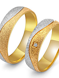 abordables -Couple d'alliance Couple Zircon cubique Zircon Acier au titane Rétro Elégant Bijoux Or pour Mariage Anniversaire Soirée Fiançailles Quotidien Cérémonie