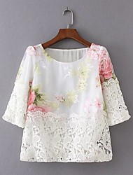 Women's Daily Going out Casual Sexy Street chic Summer Blouse,Floral Round Neck Short Sleeves Cotton Thin Medium
