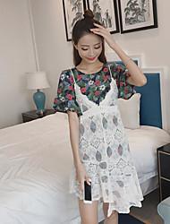 Manches Ajustées Robes Costumes Femme,Fleur Sortie Pastoral Eté Manches Courtes Col Arrondi Dentelle non élastique
