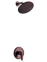 Недорогие -Только душ Керамический клапан Два отверстия Начищенная бронза, Смеситель для душа