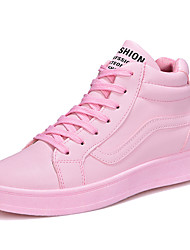 cheap -Women's Sneakers Comfort Spring Fall Rubber Walking Shoes Outdoor Lace-up Flat Heel White Black Blushing Pink Under 1in