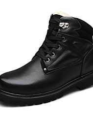 Men's Boots Snow Boots Fashion Boots Winter Real Leather Nappa Leather Cowhide Casual Outdoor Office & Career Flat Heel Black Khaki Flat