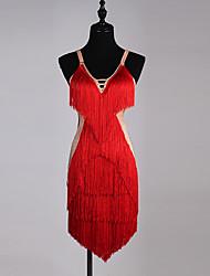Vamos a Latina vestidos de dama spandex organza cristales sin mangas