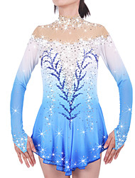 Figure Skating Dress Women's Girls' Ice Skating Dress Pale Blue Spandex Chinlon High Elasticity Jeweled Rhinestone Performance Keep Warm