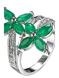 Ring Women's Euramerican Luxury Classic 2 Colors Leaf  Rhinestone  Zircon Ring Daily  Party Gift Movie Jewelry