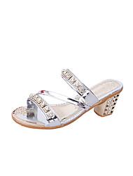economico -Da donna Pantofole e infradito PU (Poliuretano) Estate Footing Con diamantini Quadrato Oro Argento Grigio scuro 7,5 - 9,5 cm