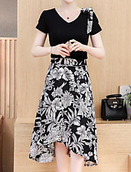 Women's Office/Career Daily Casual Skirts Nature Inspired Sexy Chic & Modern Spring Summer T-shirt Skirt Suits,Floral Print TexturedRound
