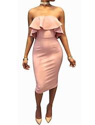 cheap -Women's Club Sexy Bodycon Sheath Dress,Solid Strapless Knee-length Sleeveless Spandex Cotton Blend Summer Mid Rise Micro-elastic Thin