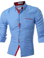 Langærmet Krave Medium Herrer Prikker Simpel Afslappet/Hverdag Skjorte,Bomuld