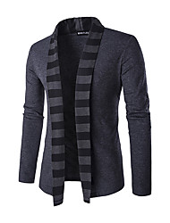 cheap -Men's Daily Casual Regular Cardigan,Striped Long Sleeves Polyester Winter Spring Fall Medium Micro-elastic