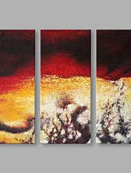 preiswerte -Handgemalte Abstrakt Vertikal,Künstlerisch Drei Paneele Leinwand Hang-Ölgemälde For Haus Dekoration