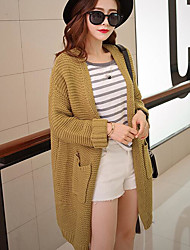 Women's Casual/Daily Long Cardigan,Solid Cowl Neck Long Sleeves Cotton Fall Winter Medium Stretchy
